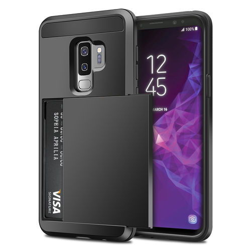 Tough Armour Card Holder Slide Case for Samsung Galaxy S9+ (Black)
